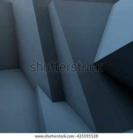 Abstract geometric 3D background with realistic overlapping black cubes - stock vector