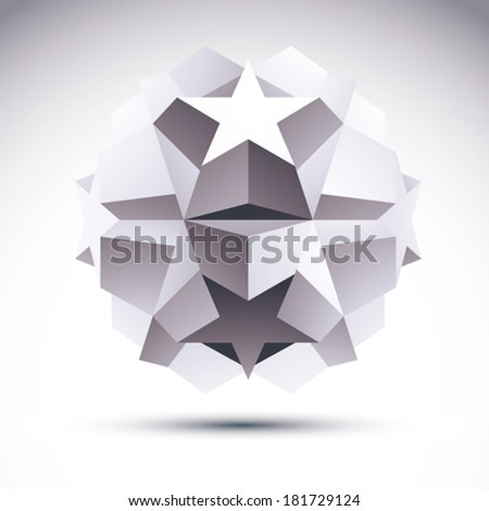 Abstract geometric 3D object, modern digital technology and science theme vector illustration, clear eps 8. - stock vector