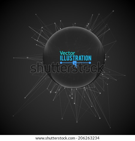 Abstract Geometric Design with Glass Sphere. Vector illustration for your business artwork. - stock vector