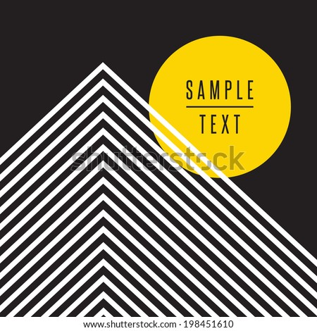 Abstract geometric design with text - stock vector