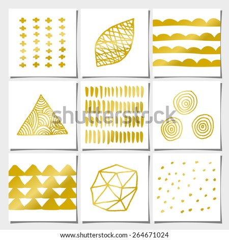 Abstract geometric designs in gold and white. Wedding, engagement and bridal shower invitations, birthday, anniversary and holiday card templates. Brush strokes, faux golden foil, copy space. - stock vector