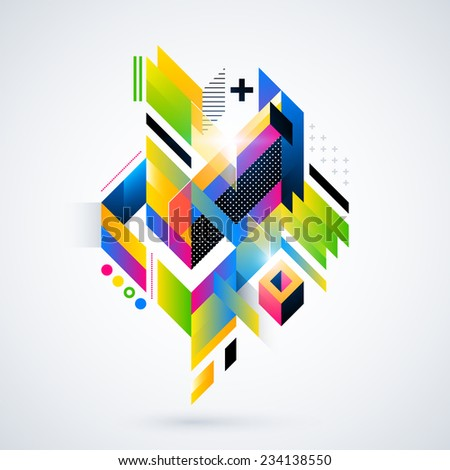 Abstract geometric element with colorful gradients and glowing lights. Corporate futuristic design, useful for presentations, advertising and web layouts. EPS10 vector illustration. - stock vector