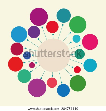 Abstract geometric figure - a circle with rays. Design element or infographics. The harmonious color combination.