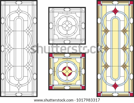 Abstract Geometric Floral Pattern In A Rectangular And Square Frame /  Colorful Stained Glass Window In