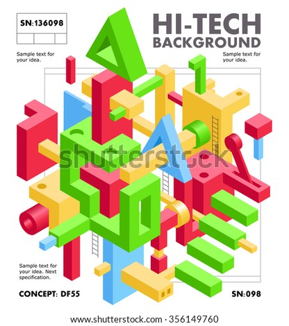 Abstract Geometric Hi-Tech Background with Colorful 3D Objects on White. Modern Art Vector Concept. Mix of Geometric Shapes in Funky Techno Style - stock vector