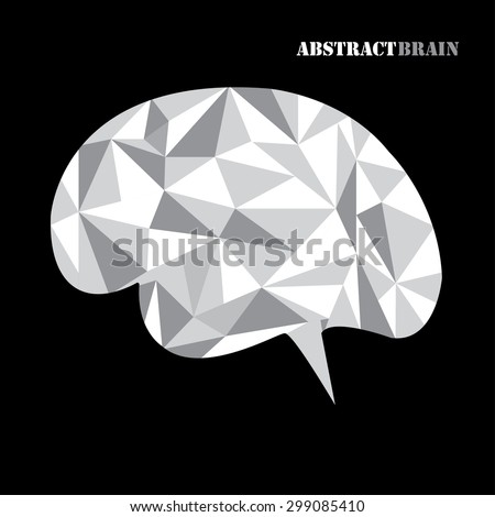 Abstract geometric human brain from colorful  triangles, isolated on black. Vector illustration. Eps 10