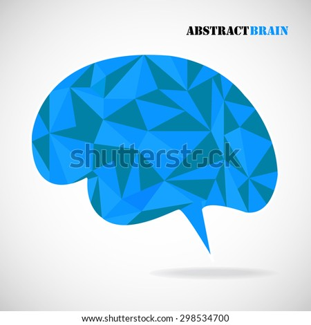 Abstract geometric human brain from colorful  triangles, isolated on white. Vector illustration. Eps 10 - stock vector