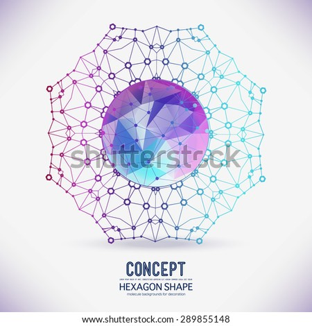 Abstract geometric lattice, the scope of molecules, the molecules in the circle a polygonal figure in the center. Round composition of the molecular lattice. Color composition vector for your design. - stock vector