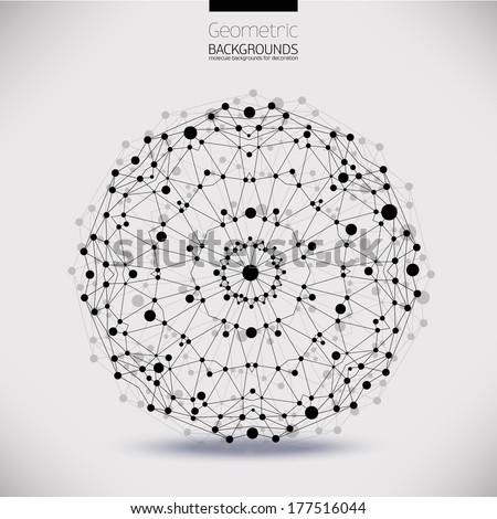 Abstract geometric lattice, the scope of molecules, the molecules in the circle. Round composition of the molecular lattice.Color picture composition for your design. - stock vector