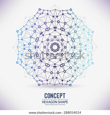 Abstract geometric lattice, the scope of molecules, the molecules in the circle. Round composition of the molecular lattice dotted.Color picture composition for your design. - stock vector