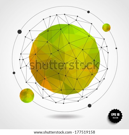 Abstract geometric lemon spherical shape from triangular faces for graphic design.Vector illustration EPS10. - stock vector