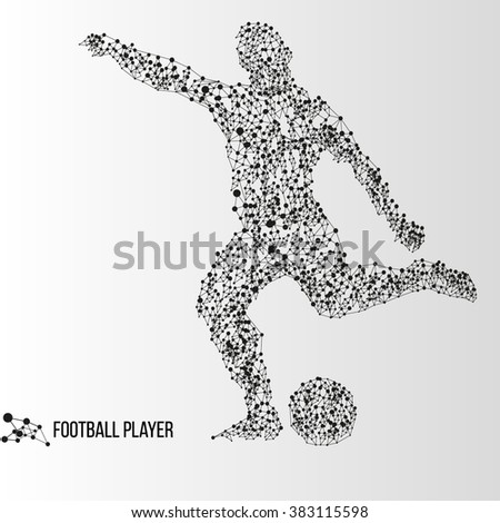 Abstract geometric molecule polygonal football soccer player silhouette isolated on gradient background - stock vector