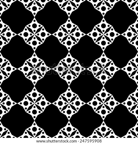 Abstract geometric mosaic seamless pattern in black and white. Monochrome repeating background texture  - stock vector