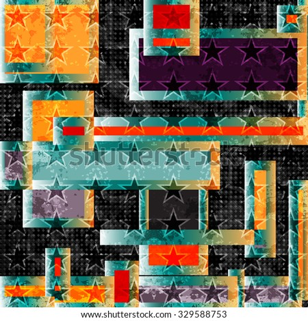 abstract geometric objects. polygons and stars on a black background. grunge effect