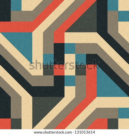 Abstract geometric ornament printed on textured striped fabric background. Seamless pattern. Vector. - stock vector