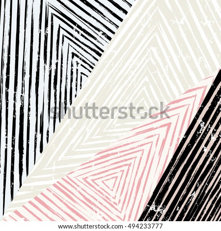 abstract geometric pattern background, with triangles, stripes, paint strokes and splashes