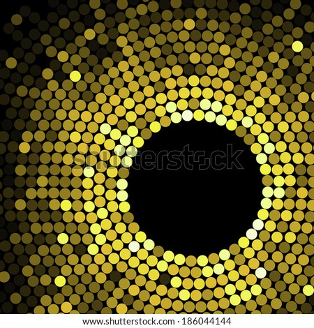Abstract geometric pattern of gold circles or dots in graduated color surrounding a black circular hole with copyspace - stock vector
