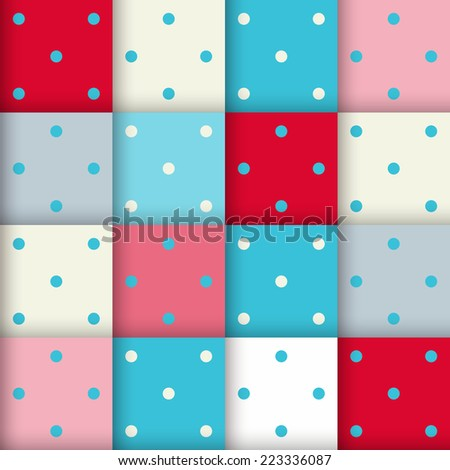 Abstract geometric pattern, seamless vector background in blue colors.