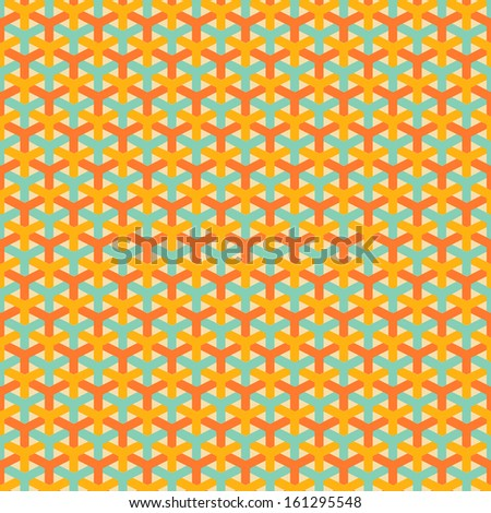 Abstract geometric pattern (tiling). Vector seamless vintage background with illusion grid. Retro orange and blue colors. Endless texture can be used for printing onto fabric and paper. - stock vector