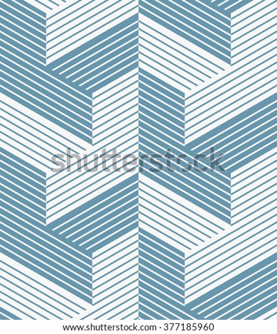 Abstract geometric pattern with lines and stripes.. A seamless vector background. Blue and white texture. - stock vector