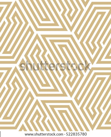 Abstract geometric pattern with lines.  Gold and white ornament. A seamless vector background.