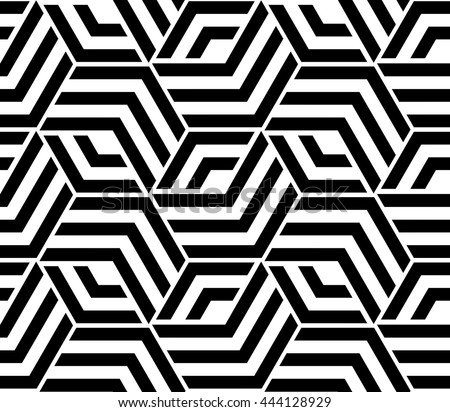 Abstract Geometric Pattern With Lines Rhombuses A Seamless Background Black And White Texture