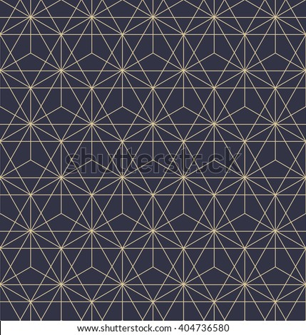 Abstract geometric pattern with lines, squares . A seamless vector background. Dark blue and gold texture. - stock vector