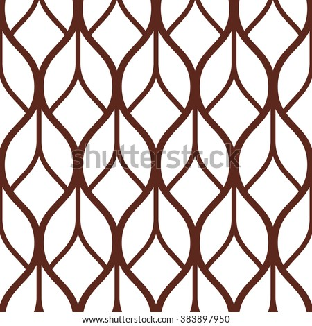 Abstract geometric pattern with wavy lines, stripes. A seamless vector background.  Brown and white ornament. - stock vector
