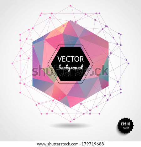 Abstract geometric pink spherical shape from triangular faces for graphic design.Vector illustration EPS10. - stock vector