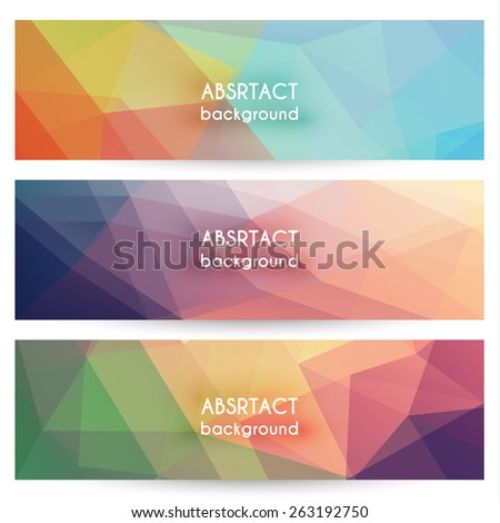 Abstract geometric polygonal background banners collection - eps10 - stock vector