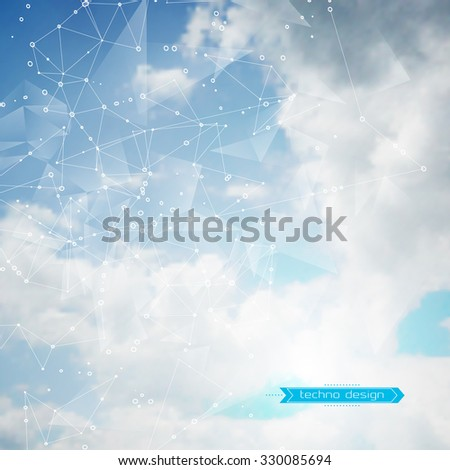 Abstract Geometric Polygonal Shape. Futuristic Technology Vector Science Background. Connecting Dots and Lines Structure. Clouds Heavens illustration - stock vector