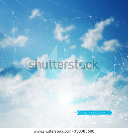 Abstract Geometric Polygonal Shape. Vector Science Background. Futuristic Technology Background. Connecting Dots and Lines Structure. Clouds Heavens Background - stock vector
