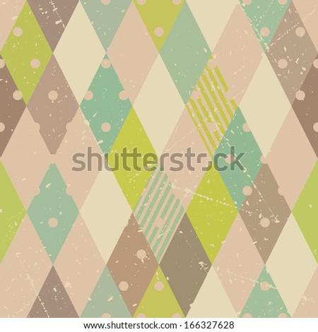 Abstract geometric retro diamonds seamless pattern - stock vector