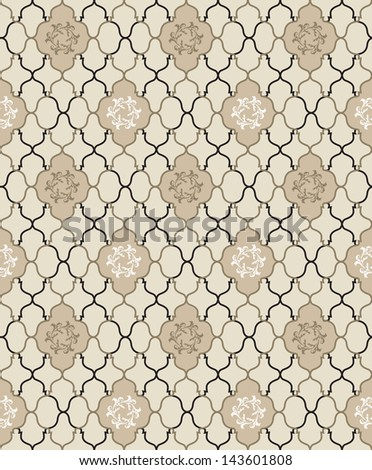Abstract Geometric Retro Texture. Seamless pattern. Floral lightning ornament. Lacy vintage  background - stock vector