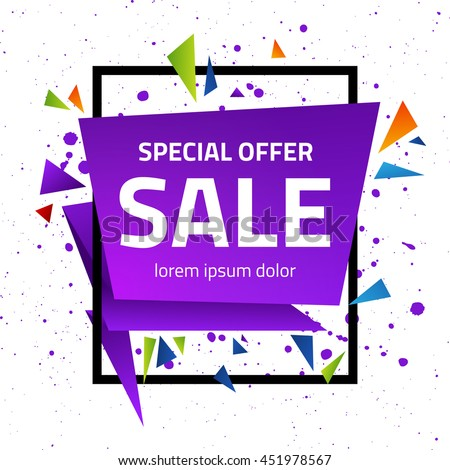 Abstract geometric sale poster. Origami special offer sign with grunge polygonal background. Vector illustration.