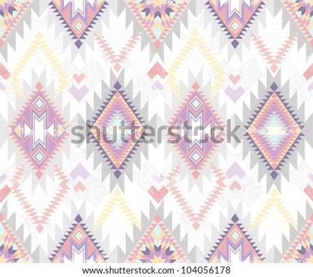 Abstract geometric seamless aztec pattern. Colorful ikat style pattern. - stock vector