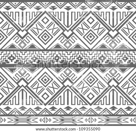 Abstract geometric seamless aztec pattern. Ikat style pattern. - stock vector