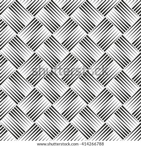 Abstract geometric seamless black and white style pattern with rhombus and lines. - stock vector