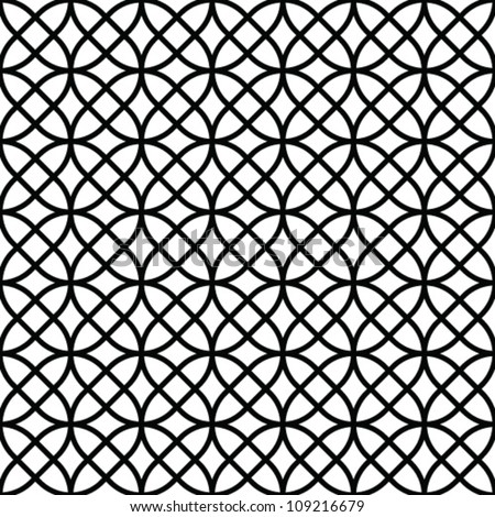 Abstract geometric seamless pattern. Black and white style pattern with circle and line.