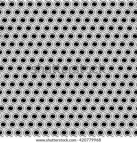 Abstract geometric seamless pattern. Black and white style pattern with circle spiral. Vector. - stock vector