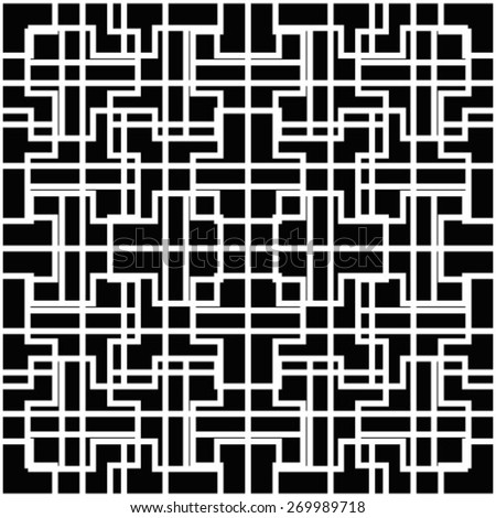 Abstract geometric seamless pattern. Black and white style pattern with lines. - stock vector