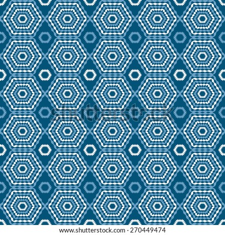 Abstract geometric seamless pattern. Blue and white style pattern. Endless texture for wallpaper, fill, web page background, surface texture. - stock vector