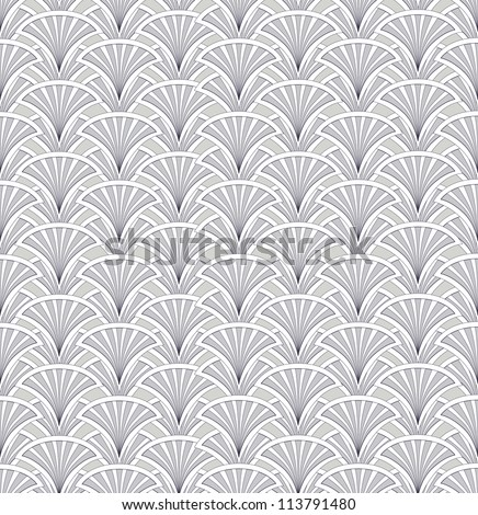 Abstract geometric seamless pattern. Fan floral motif ornamental background.