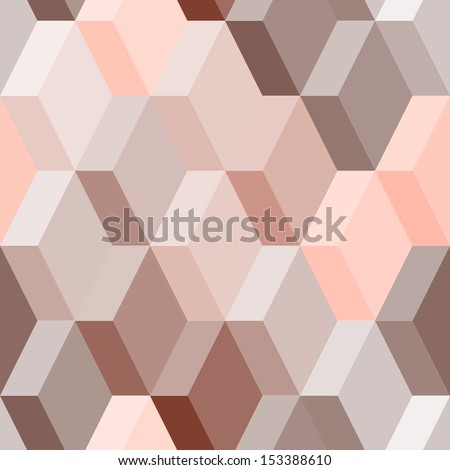 Abstract geometric seamless pattern in pink and brown, vector - stock vector