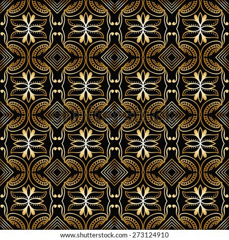 Abstract geometric seamless pattern. Islamic arabian ornament. Tribal ethnic background, hand drawn fashion repeating texture. Black and gold vector illustration - stock vector