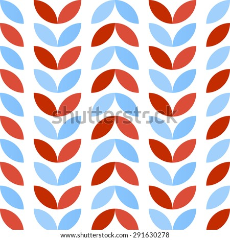 Abstract geometric seamless pattern of colorful petals in maritime mood - stock vector