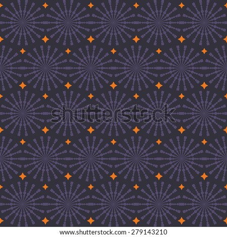 Abstract geometric seamless pattern. Purple and orange style pattern with circle and line. Endless texture for wallpaper, fill, web page background, surface texture. - stock vector