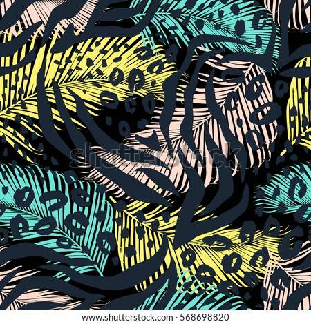 abstract geometric seamless pattern with animal print trendy hand drawn textures - Animal Pictures To Print Free