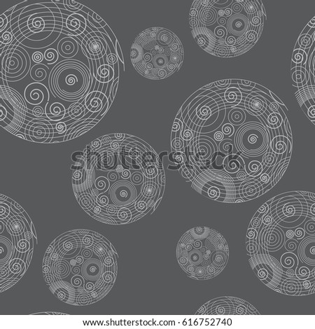 Abstract geometric seamless pattern with circles and spirals. Modern linear style. Minimalistic ornamental texture in monochrome grey color. Vector illustration.