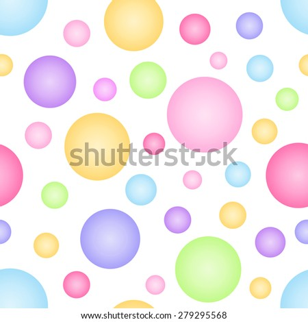 Abstract geometric seamless pattern with colorful big and small circle. Vector illustration. - stock vector